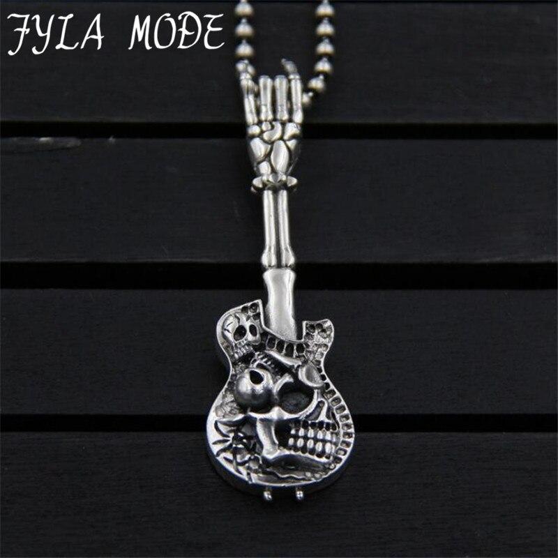 JINSE Vintage S925 Sterling Silver Skeleton Body Skull with Guitar Charm Pendant Metal Bracelet Necklace Jewelry