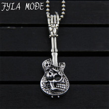 JINSE Vintage S925 Sterling Silver Skeleton Body Skull with Guitar Charm Pendant Metal Bracelet Necklace Jewelry