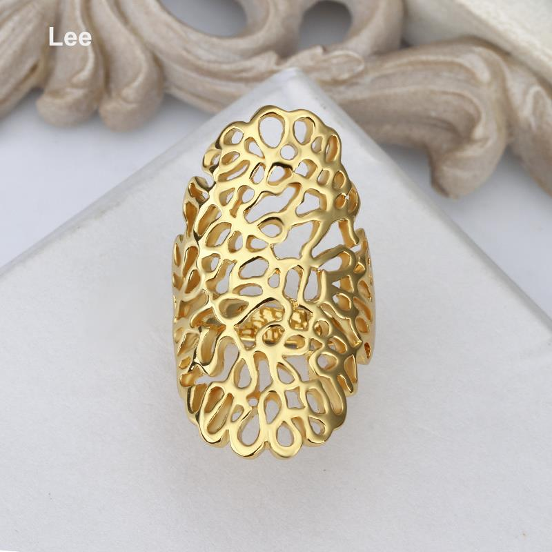 R528 Wholesale High Quality Nickle Free big shape yellow gold ring