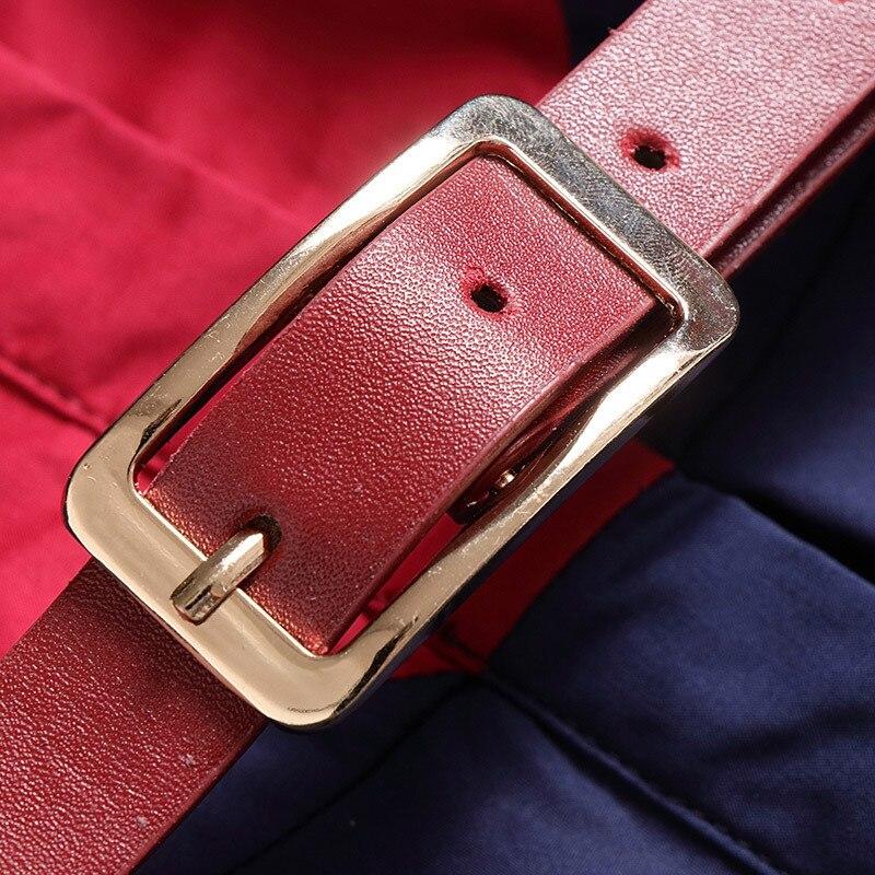 Coton Arc Solide Mode Col Style Mi Vêtements Sash 2018 De Automne mollet Robe Turn Lady Élégant 100 Femmes Casual down dqHX66