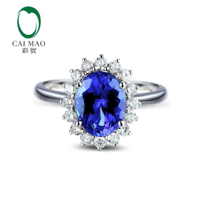 Caimao 18kt/750 الذهب الأبيض 2.11 قيراط الطبيعية إذا الأزرق تنزانيت aaa 0.4 ct كامل قص الماس المشاركة gemstone عصابة المجوهرات