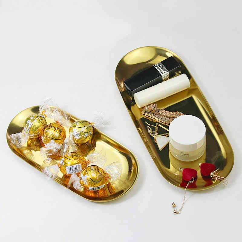 Baru 2019 Berwarna-warni Penyimpanan Tray Emas Oval Dihiasi Piring Buah Barang Kecil Perhiasan Display Tray Cermin