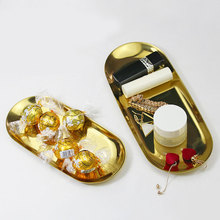 New 2019 Colorful Metal Storage Tray Gold Oval Dotted Fruit Plate Small Items Jewelry Display Mirror