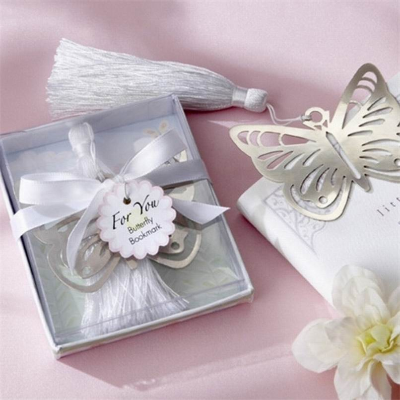 300pcs Practical Reading Essential Metal Butterfly Bookmark With Tassels Boxed Wedding Favor Gift Business Gift