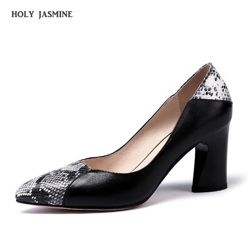 2019 Spring New Sexy Pointed Toe Party Wedding Shoes Woman Square Heels Zipper Pumps Genuine Leather Basic Ladies Shoe