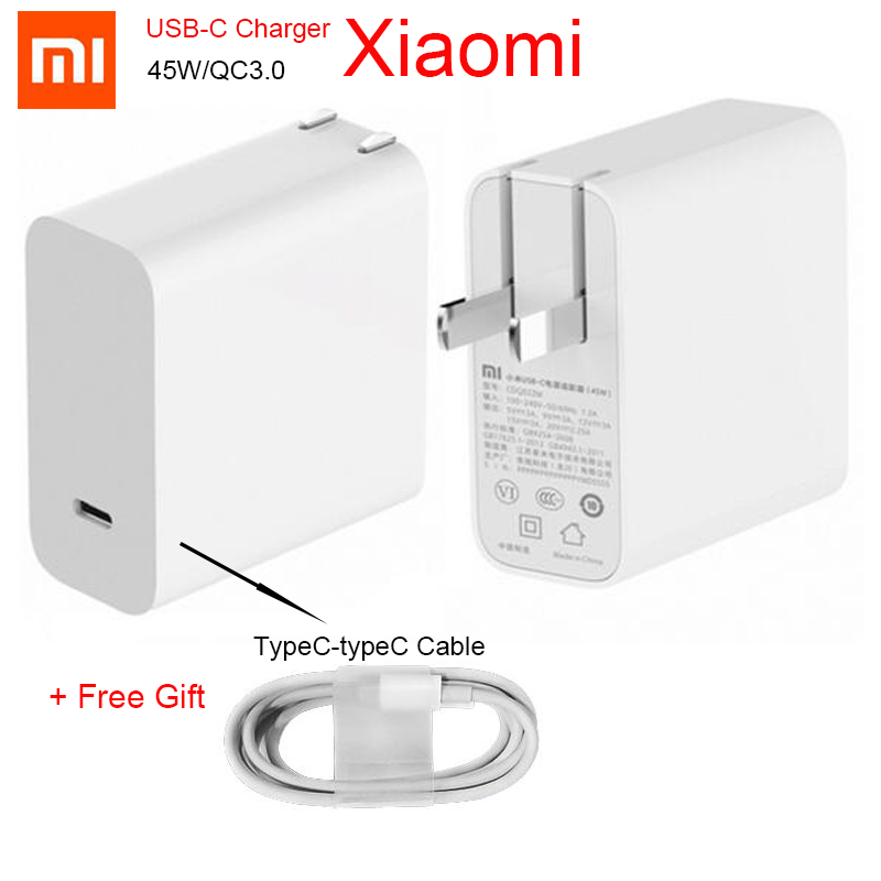 Original Xiaomi Mi USB-C Charger 45W Output Rate Socket Power adapter Type-C Port USB PD 2.0 Quick Charge QC 3.0 + Type C Cable Картофель фри