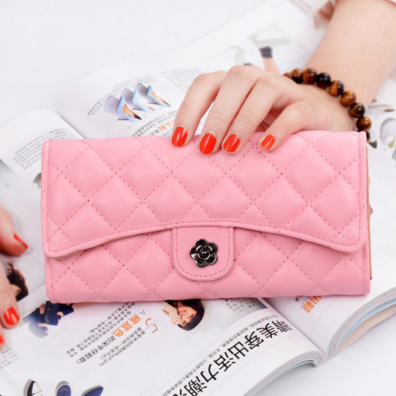 Fashion female bag Sweet lady Diamond lattice PU Leather Long Wallets Women Handbags Cash Purse Card Holder Free shipping 2017 new women wallets cute cartoon bear lady purse pu leather clutch wallet card holder fashion handbags drop shipping j442