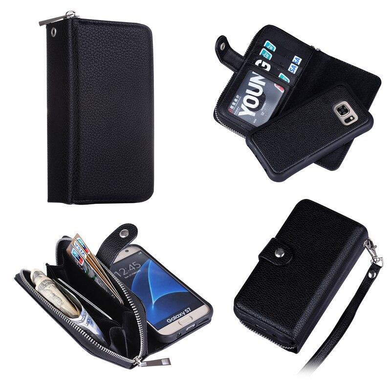 Untuk Samsung S7 Kasus Multifungsi Ritsleting Dompet Kulit Magnetic - Aksesori dan suku cadang ponsel - Foto 2