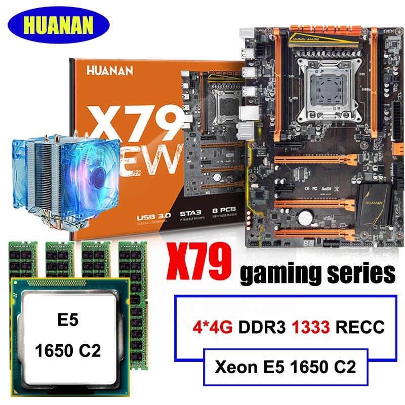 Хит продаж Deluxe HUANAN X79 материнской Процессор Оперативная память комплект Xeon E5 1650 C2 с охладитель Оперативная память 16 г (4*4 г) DDR3 1333 мГц RECC все ис...