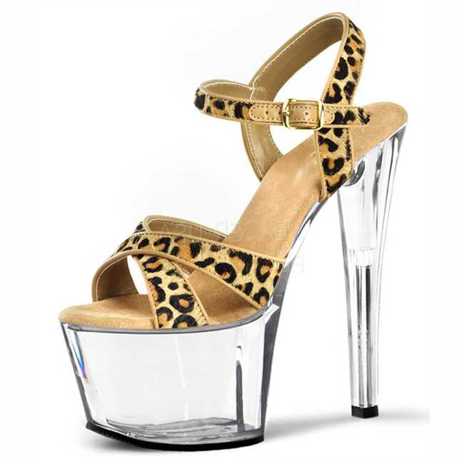 17 cm super high heels unique glass with thick with sandals leopard clubs in Europe and America hate day high Code size shoes the original single in europe and america 2015
