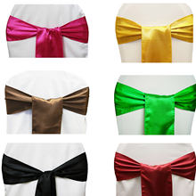 Cheap 25pcs/lot 15*275cm Satin Bow Tie Chair Sash Band Red/Black/Pink Multi Color For Hotel Banquet Wedding Party Decoration(China)