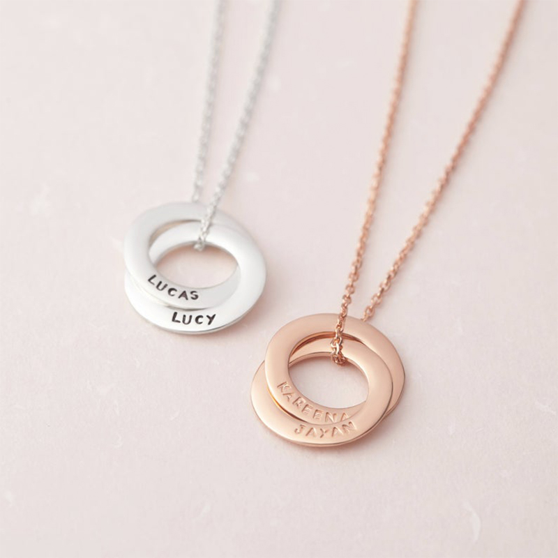 Lateefah Unique Name Necklace 2 Circle Name Pendant Gold Color Handmade Engraved Necklaces Jewelry Memory Gift For Mom Kids image