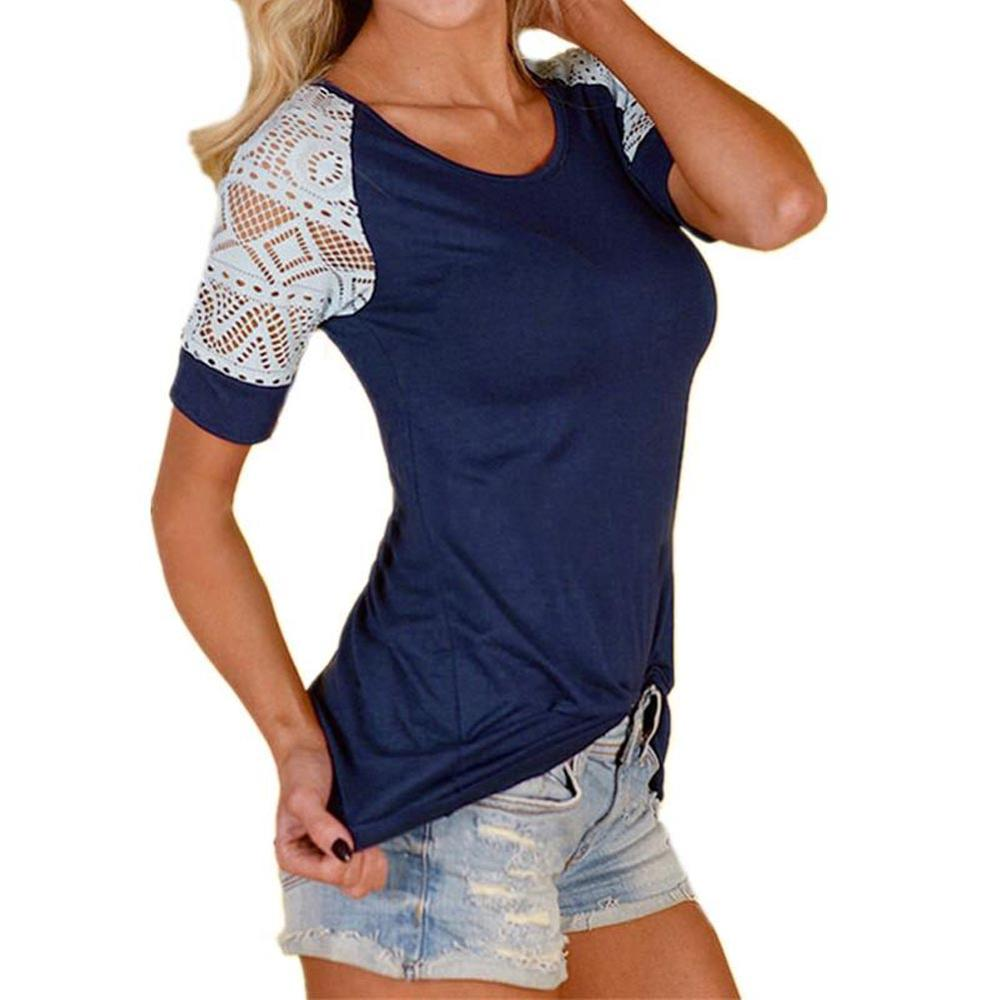 Hitmebox 2018 New Women Summer Lace Blouse Blusas Sexy O Neck Short Sleeve Crochet Casual Slim Tops Shirts Plus Size