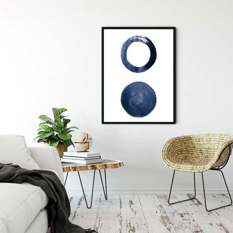 Indigo Dinding Art Cetakan Skandinavia Poster Dekorasi Ruang Tamu Modern Biru Tua Minimal Seni Lukisan Dinding Gambar