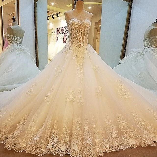 Backlake New Style Diamond Wedding Dress Strapless Lace Up Back Ball Gown Extreme Luxury Bridal