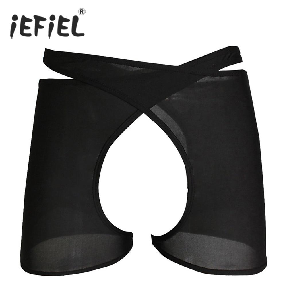 Buy 2017 Crotchless Open Butt Men's Sexy Lingerie Underwear Halves Underwear Underpants Boxer Shorts Wetlook Mens Gay Panties