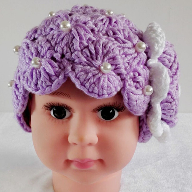 989c249d681 Newborn Baby Girls Crochet Flower Hat Cap Handmade Knitted Beret Hat Girls  Flower Beanie Caps Imitation Pearls Baby Spring Hats