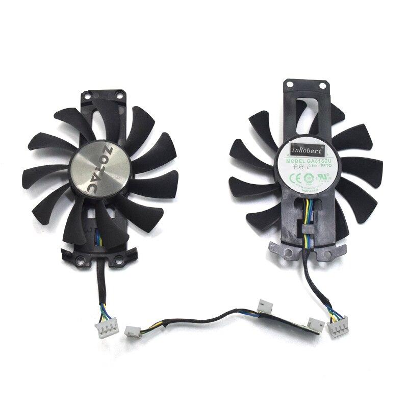 2 teile/los GA81S2U 12 v 0.38A 75mm 4Pin Apistek Kühler Fan Für ZOTAC GTX960 4g PCI-EDC Grafikkarte fan