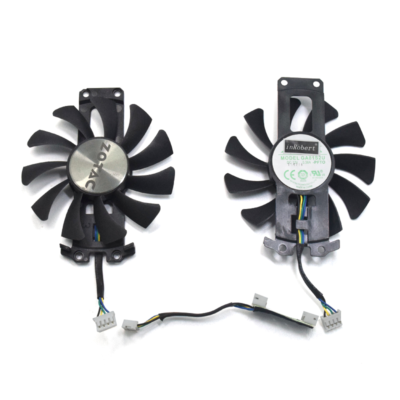 2pcs/lot GA81S2U 12V 0.38A 75mm 4Pin Apistek Cooler Fan For ZOTAC GTX960 4G PCI-EDC Graphics Card Fan 2pcs lot ga81s2u 12v 0 38a 75mm 4pin apistek cooler fan for zotac gtx960 4g pci edc graphics card fan