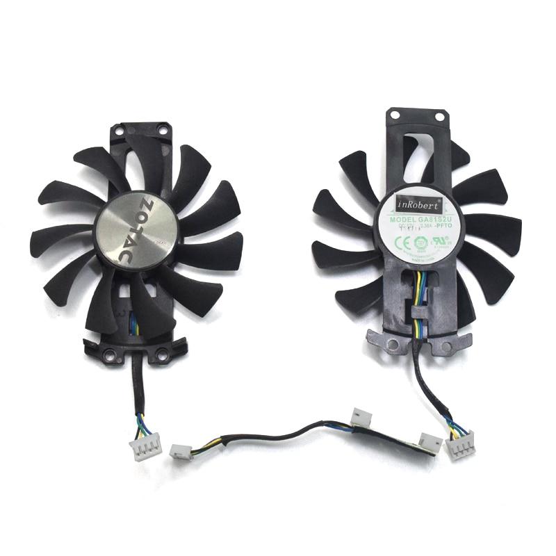 2pcs/lot GA81S2U 12V 0.38A 75mm 4Pin Apistek Cooler Fan For ZOTAC GTX960 4G PCI-EDC Graphics Card Fan