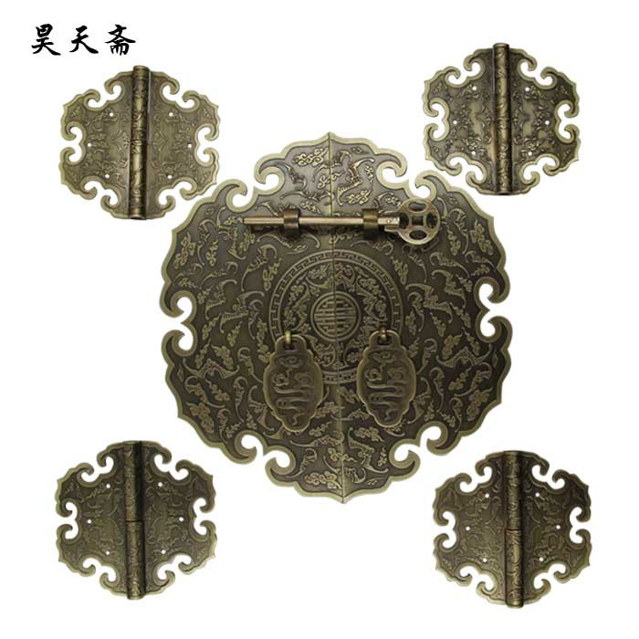 [Haotian vegetarian] bronze Chinese Ming and Qing antique furniture copper fittings brass lock piece suite door handle copper li ming and qing antique chinese furniture copper fittings door handle knocker large latch bolt big bolt locks