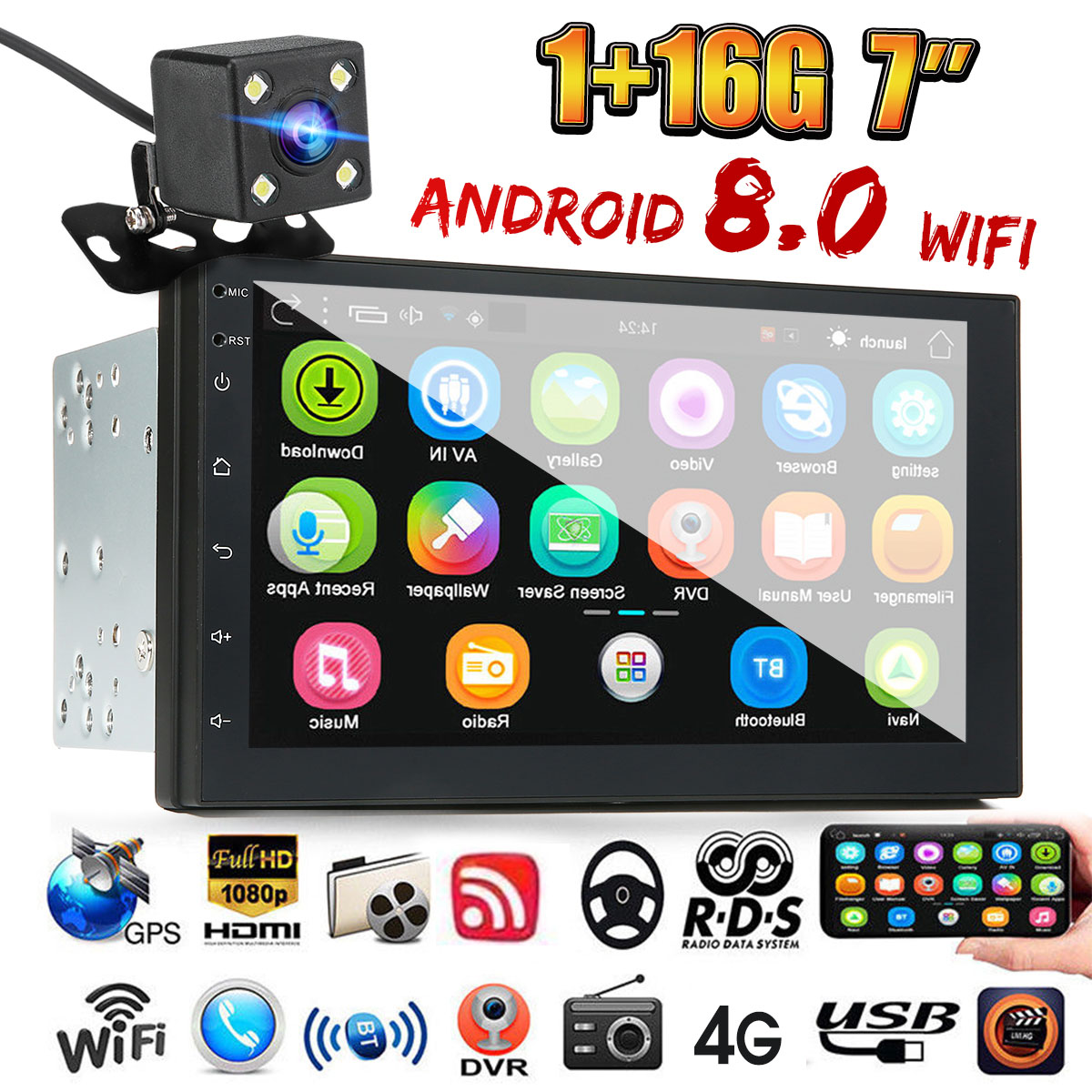Universal 7 Double Din Car Stereo Radio GPS Sat Nav bluetooth MP5 FM USB  WIFI for Android 8 0 Rear View Camera