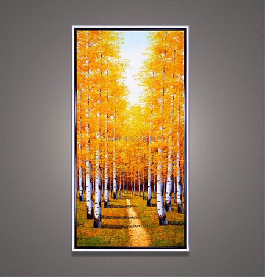 Online Shop large canvas art cheap hand painted autumn tree lane ...
