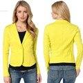 Mulheres de Slim Casual Negócios Blazer Paletós One Button Magro Amarelo Senhoras Blazers Trabalho Desgaste Blaser