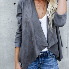 Fashion Autumn Women Open Stitch Coat Long Sleeve Waterfall Ladies Cardigan Suede Coats Loose Asymme