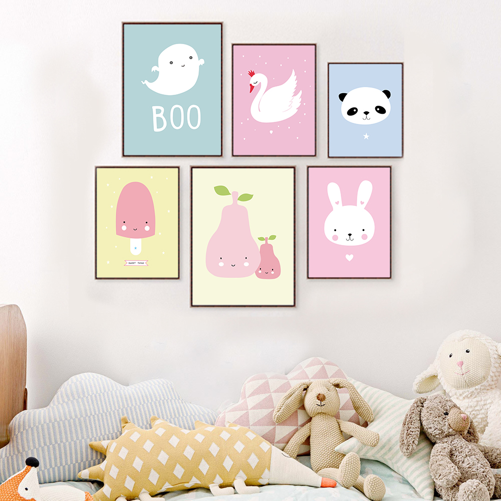 Kawaii Animal Panda Poster Print Modern Nordic Cartoon Nursery Wall Art  Picture Kids Baby Room Decor Canvas Painting No Frame