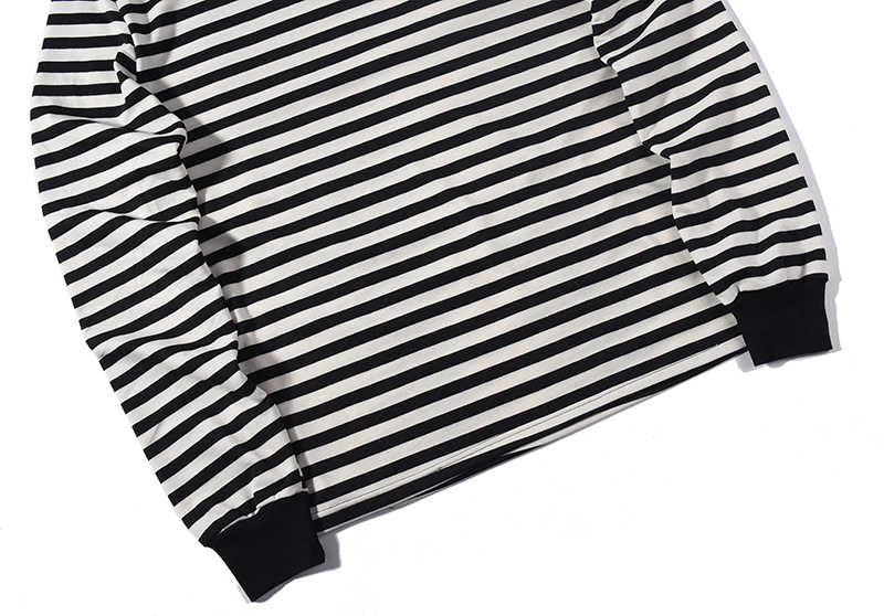 c97b68f1 ... Men oversized black white stripe long Sleeve T-shirt streetwear hip hop  plus striped tee ...
