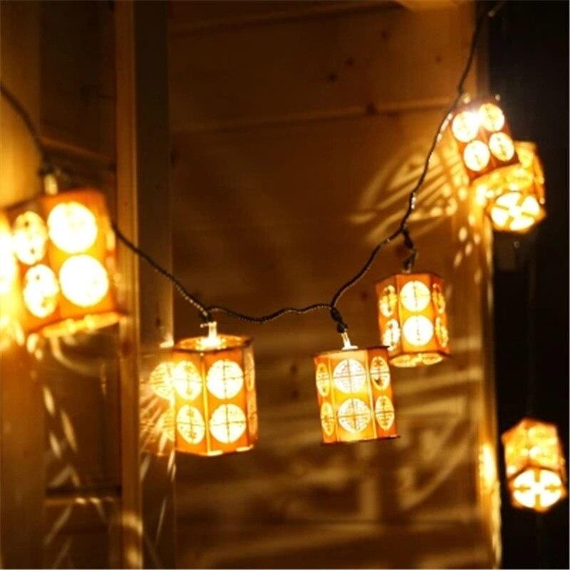 Chinese Style LED Lantern Flashing String Festoon Light Battery Operated Lamp Christmas Wedding New Year Garland Outdoor Garden jiaderui usb rechargeable battery neon lamp new year christmas wedding decor lamp flamingo cactus moon cloud led home nightlight