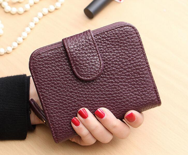 Aliexpress Hot Sale Women 2 Fold Short Wallets Litchi Grain Wallets Mini Money Purses Fold PU