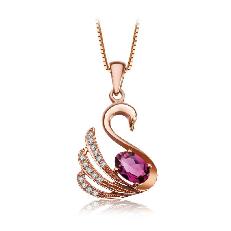 aliexpress com buy 0 5 ct elegance design swan diamond jewelry 18k rose gold necklace pendant