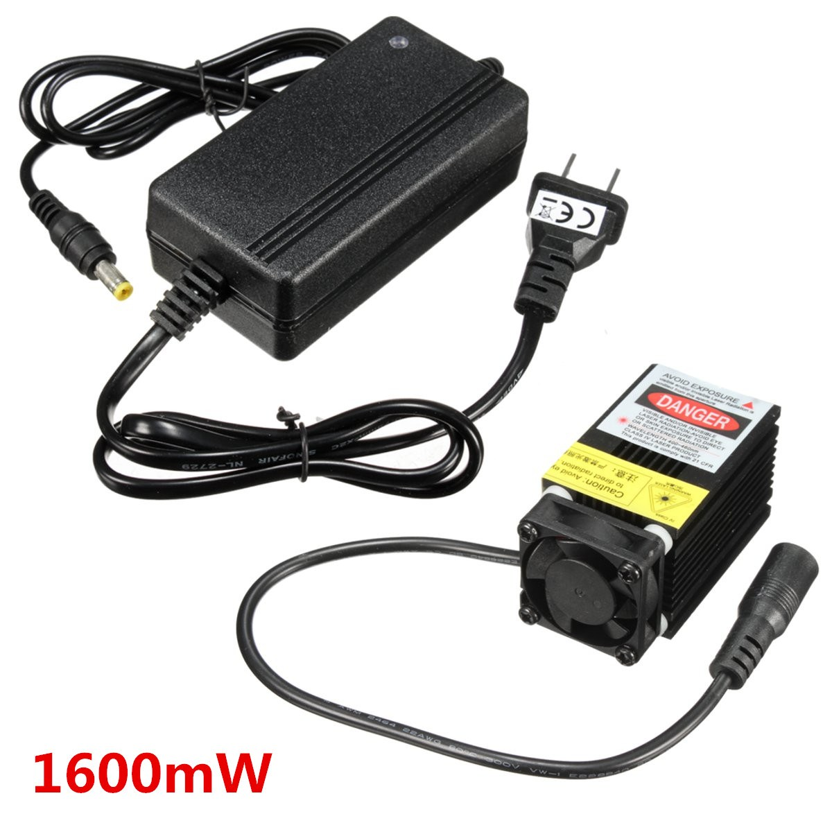 1600MW Laser Module Engraving Head 12V 1.6W For DIY USB CNC Cutting Printing Machine + Power Supply laser module industrial laser head red laser spot heat dissipation can work for a long time