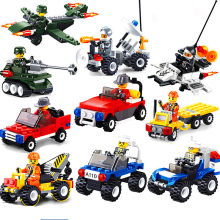 [New] City Series Police Car Fighter mini Educational Building Blocks Toys Compatible With block toys City(China)