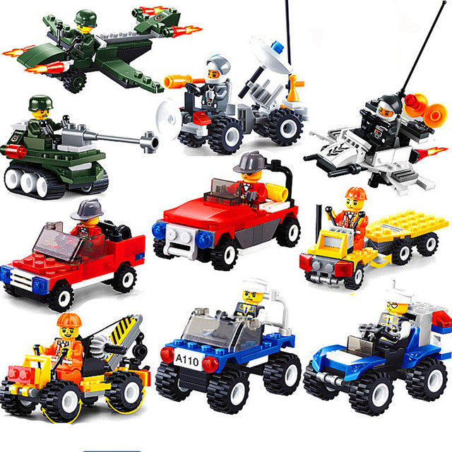 [New] City Series Police Car Fighter mini Educational Building Blocks Toys Compatible With block toys City