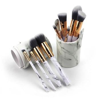 10Pcs/Set Pro Marbling Makeup Brushes Kit Marble Pattern Cylinder PU Brush Bag Power Beauty Make Up Brush Cosmetic Tools
