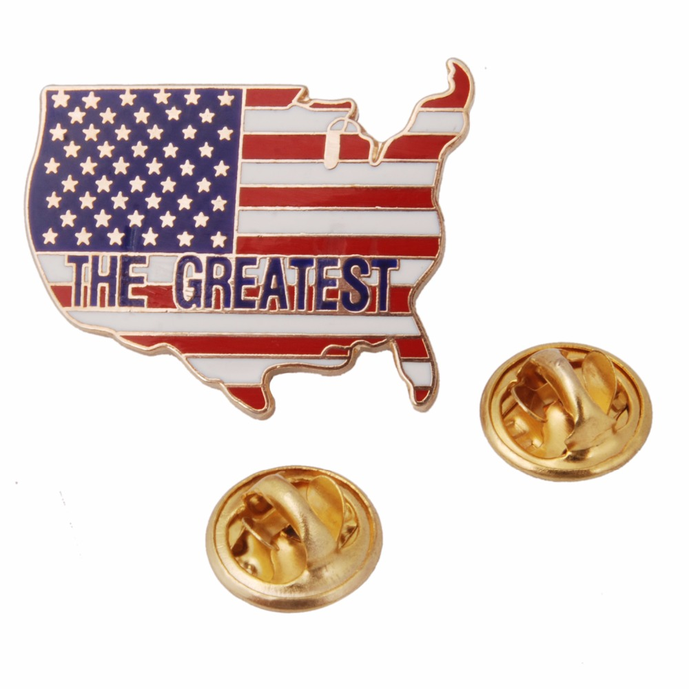 U.S. US AMERICA ARMY FLAG MAP MATAL PIN BADGE THE GREATEST