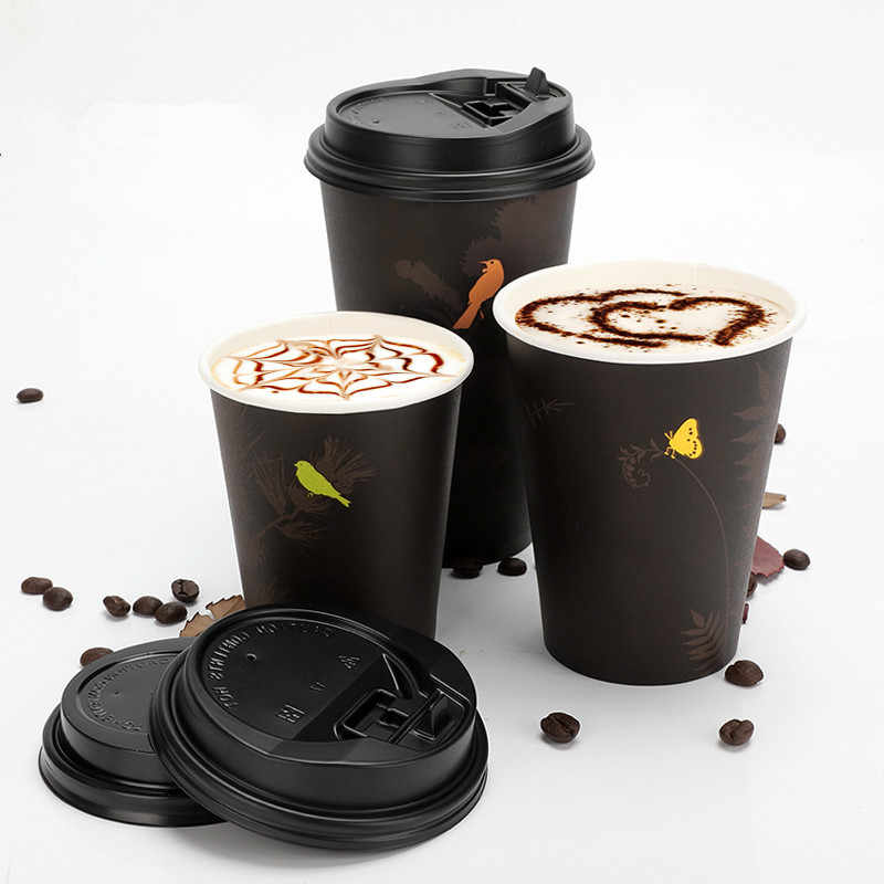 50pcs Disposable coffee cup 8oz/12oz/16oz drink juice milk tea takeaway packaging cups wiht lids party wedding favor paper cup