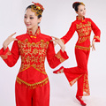 Красный Барабан Yangko Танцевальные Костюмы Традиционный Китайский Танец Костюм Танец с Веером Танец Барабанщиков Китайский Народный Танец