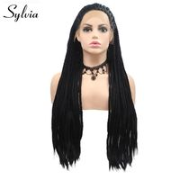 Sylvia Long Braided Wig Black Hair Braided Box Braids Wig For Women #1B Synthetic Lace Front Wig Natural Hairline Heat Resistant