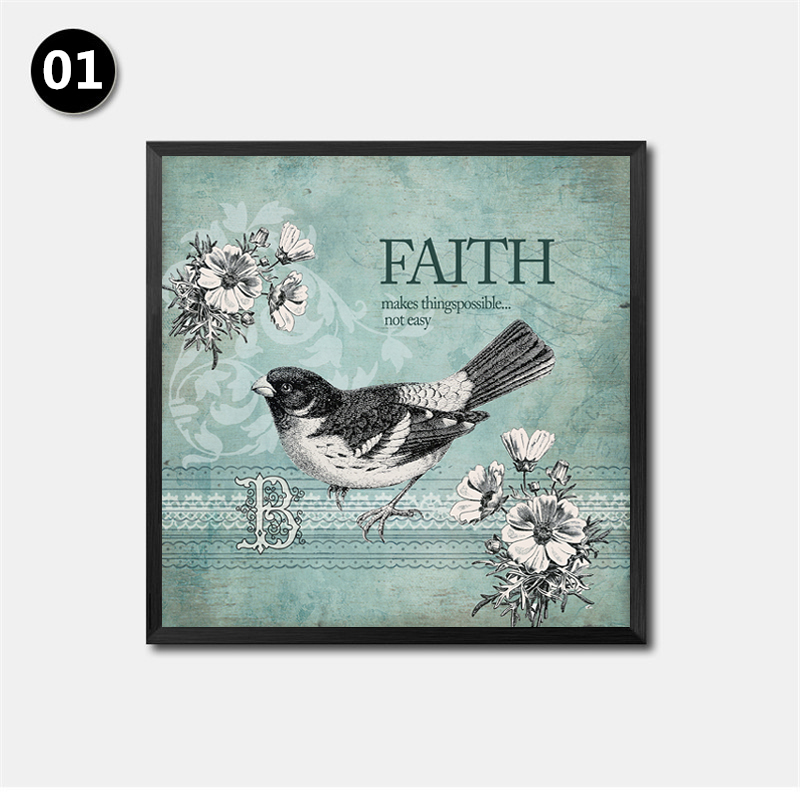 Animal Birds Picture Canvas Painting Blessing Faith Home Family Quotes Wall Decor Pictures HD2170 In Calligraphy From