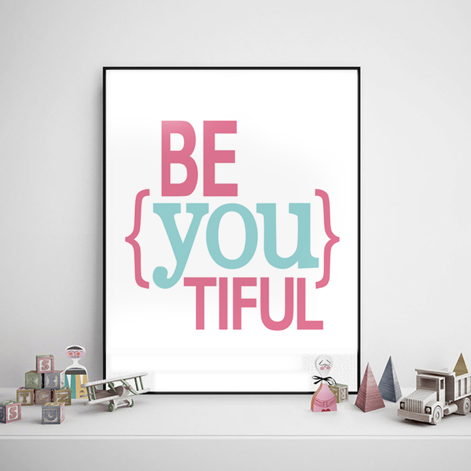 Color printing quotes - Color Printing Quotes Dctop Be You Tiful Quote Nordic Wall Painting Double Color Canvas Print