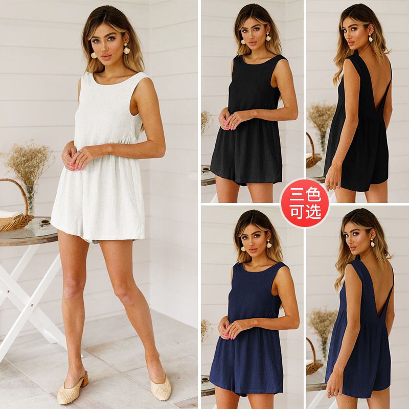 Summer Women Loose Casual Cotton Linen Jumpsuits Sleeveless 2019 New Solid Playsuits Plus Size Sexy Woman Rompers Open Back