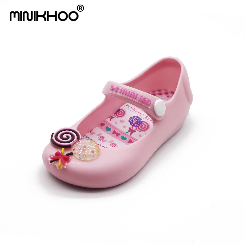 Mini Melissa Brand Cute Lollipop Girl Jelly Sandals Baby Jelly Shoes Children Shoes Breathable Girl Beach Sandals 13-15.5cm