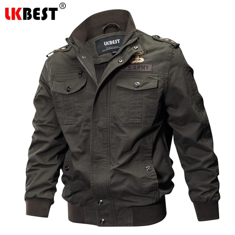 LKBEST Winter Bomber Jacket Men Air Force Pilot Jacket Men Windproof Badge Military Jacket Thin Cotton Coat Plus Size 5XL FX12