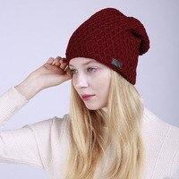 2017 المرأة الجديدة الشتاء قبعة محبوك بينيس الصوف الإناث الأزياء skullies قبعات تزلج عارضة سميكة الدافئة القبعات النساء