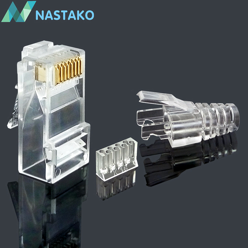 NASTAKO 50/100pcs Cat6 RJ45 connector UTP cable ethernet Jack 8P8C Network CAT 6 Modular Plugs with 6.5mm RJ45 Boots 24 pcs rj45 modular network pcb jack 56 8p w led 4 ports