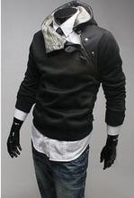 New autumn and winter 2016 men s fashion rabbit fur hooded coat British fashion oblique zipper